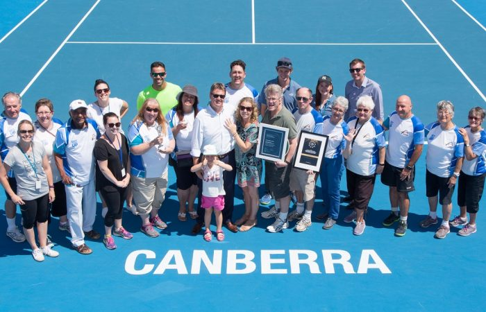 Tennis ACT Staff photo with Volunteers after the singles final on day eight of the East Hotel Canberra Challenger. Match was played at the Canberra Tennis Centre in Lyneham, Canberra, ACT on Saturday 14 January 2017 #eastCBRCH #TennisACT. Photo: Ben Southall.