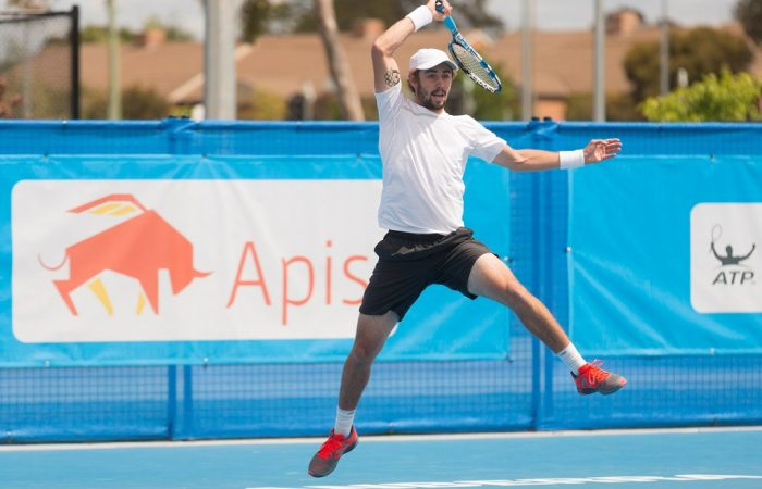 JORDAN THOMPSON (AUS) in action during day four of the Apis Canberra International. Match was played at the Canberra Tennis Centre in Lyneham, Canberra, ACT on Tuesday 1 November 2016. Photo by: Ben Southall.