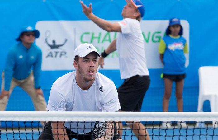 Action from the Men's Doubles Final of the Canberra $75K ATP Challenger held at the Canberra Tennis Centre on Friday 15 January 2016. Mariusz Fyrstenberg (POL) / Santiago Gonzalez (MEX) [1] defeat Maverick Banes (AUS) / Jarryd Chaplin (AUS) 7-6 6-3. Photo by Ben Southall. #CBRATPChallenger