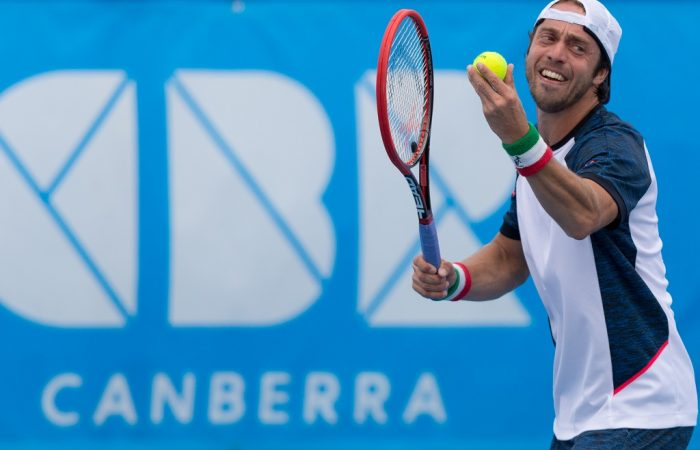 Paolo Lorenzi (ITA) [1] - Action from the Men's Singles Final of the Canberra $75K ATP Challenger held at the Canberra Tennis Centre on Saturday 16 January 2016. Paolo Lorenzi (ITA) [1] defeated Ivan Dodig (CRO) [5] 6-2 6-4. Photo by Ben Southall. #CBRATPChallenger