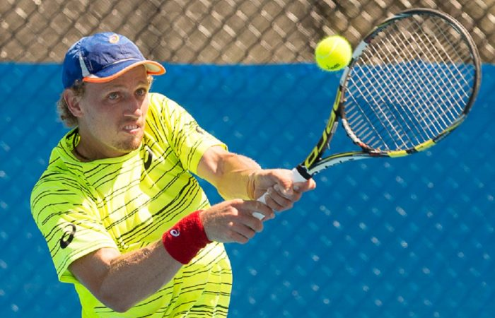 Maverick Banes (AUS) - Action from Day 1 of the Canberra $75K ATP Challenger being held at the Canberra Tennis Centre on Monday 11 January 2016. Photo by Ben Southall. #CBRATPChallenger