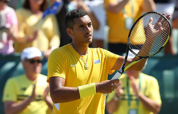 PERTH, AUSTRALIA - SEPTEMBER 12:  Nick Kyrgios of Australia celebrates winning his rubber against Denis Istomin of Uzbekistan in their singles match during the Davis Cup World Group Play-off tie at Cottesloe Tennis Club on September 12, 2014 in Perth, Australia.  (Photo by Paul Kane/Getty Images)