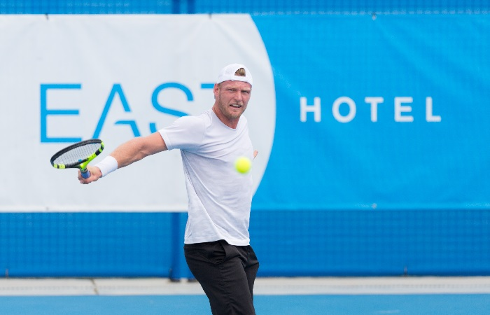 Sam Groth (AUS) in action during day four of the East Hotel Canberra Challenger. Match was played at the Canberra Tennis Centre in Lyneham, Canberra, ACT on Tuesday 10 January 2017 #eastCBRCH #TennisACT. Photo: Ben Southall.