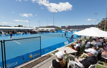 GENERAL VIEW of the tennis centre during the Women's Singles Final on day nine of the Apis Canberra International. Match was played at the Canberra Tennis Centre in Lyneham, Canberra, ACT on Sunday 6 November 2016. Photo by: Ben Southall.