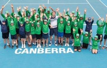 Andreas Seppi (ITA) poses for a photo with the ball kids after winning the Men's Singles final on Day eight of the East Hotel Canberra Challenger 2018 #EastCBRCH. Match was played at Canberra Tennis Centre in Lyneham, Canberra, ACT on Saturday 13 January 2018. Photo: Ben Southall. #Tennis #Canberra #ATPChallenger