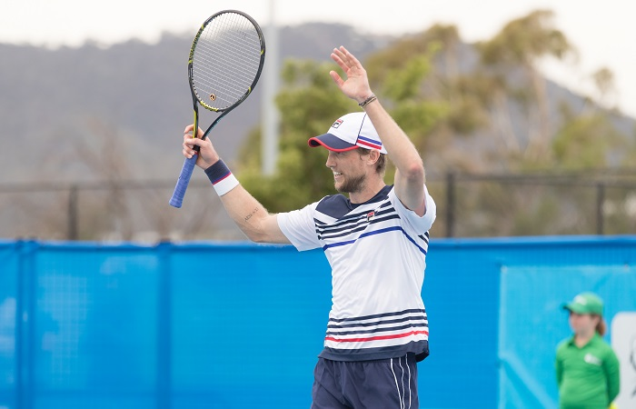Andreas Seppi (ITA) in action during the Men's Singles final on Day eight of the East Hotel Canberra Challenger 2018 #EastCBRCH. Match was played at Canberra Tennis Centre in Lyneham, Canberra, ACT on Saturday 13 January 2018. Photo: Ben Southall. #Tennis #Canberra #ATPChallenger
