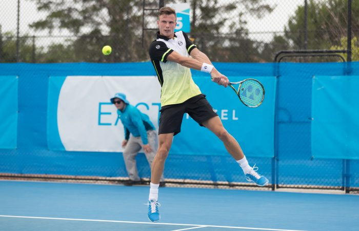 Marton FUCSOVICS (HUN) in action during the Men's Singles main draw on Day three of the East Hotel Canberra Challenger 2018 #EastCBRCH. Match was played at Canberra Tennis Centre in Lyneham, Canberra, ACT on Monday 8 January 2018. Photo: Ben Southall. #Tennis #Canberra