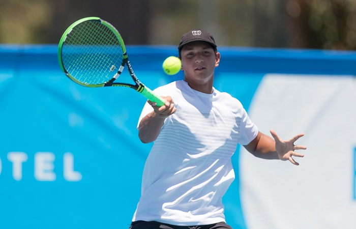 Jamieson NATHAN (AUS) in action during Men's Qualifying on Day one of the East Hotel Canberra Challenger 2018 #EastCBRCH. Match was played at Canberra Tennis Centre in Lyneham, Canberra, ACT on Saturday 6 January 2018. Photo: Ben Southall. #Tennis #Canberra