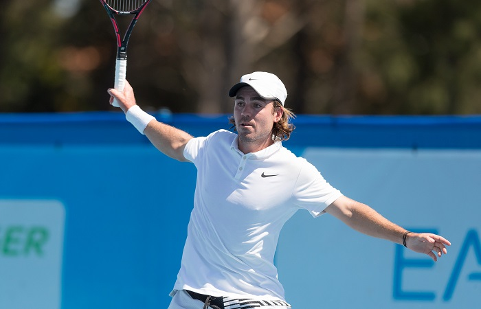 James FRAWLEY (AUS)  in action during Men's Qualifying on Day two of the East Hotel Canberra Challenger 2018 #EastCBRCH. Match was played at Canberra Tennis Centre in Lyneham, Canberra, ACT on Sunday 7 January 2018. Photo: Ben Southall. #Tennis #Canberra