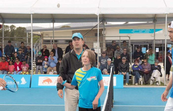 Matt Ebden (AUS) and Taro Daniel (JPN) at the coin toss in the Men's Singless final of the Apis Canberra International #ApisCBRINTL. Matt Ebden was victorious on the day winning 7-6 6-4. Match was played at Canberra Tennis Centre in Lyneham, Canberra, ACT, Australia on Sunday 5 November 2017. Photo: Ben Southall. #Tennis  #Canberra