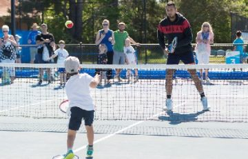 Nick Kyrgios at the kids day event during Day eight of the Apis Canberra International #ApisCBRINTL. The event was held at the Canberra Tennis Centre in Lyneham, Canberra, ACT on Saturday 3 November 2018. Photo: Ben Southall. #Tennis #Canberra