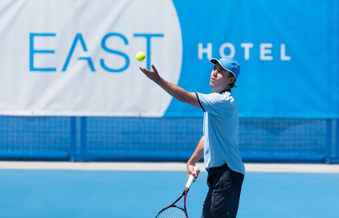 James Frawley (AUS) in action during day four of the East Hotel Canberra Challenger. Match was played at the Canberra Tennis Centre in Lyneham, Canberra, ACT on Tuesday 10 January 2017 #eastCBRCH #TennisACT. Photo: Ben Southall.