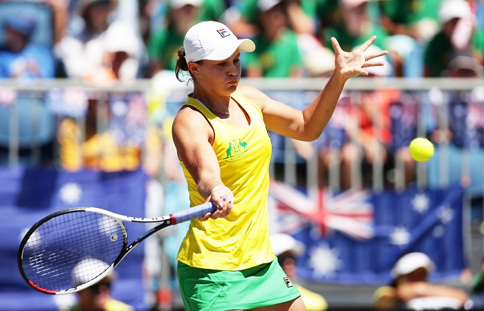 CANBERRA, AUSTRALIA - FEBRUARY 11:  Ashleigh Barty of Australia plays a forehand in her singles match against Marta Kostyuk of Ukraine during the Fed Cup tie between Australia and the Ukraine at the Canberra Tennis Centre on February 11, 2018 in Canberra, Australia.  (Photo by Matt King/Getty Images)