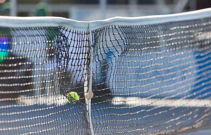 Ball crashes into net during day two of the East Hotel Canberra Challenger 2019 #EastCBRCH. Match was played at Canberra Tennis Centre in Lyneham, Canberra, ACT on Monday 7 January 2019. Photo: Ben Southall. #Tennis #Canberra