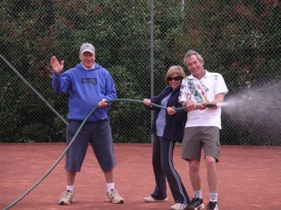 Watering the courts