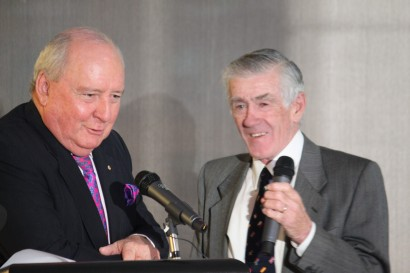 Alan Jones with Ken Rosewall at the Muscles book launch