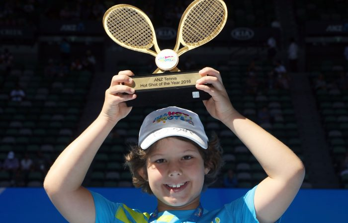 MELBOURNE, AUSTRALIA - JANUARY 19:  ANZ Hot Shot of the Year winner Jack McLean poses with his award during day four of the 2017 Australian Open at Melbourne Park on January 19, 2017 in Melbourne, Australia.  (Photo by Graham Denholm/Getty Images)