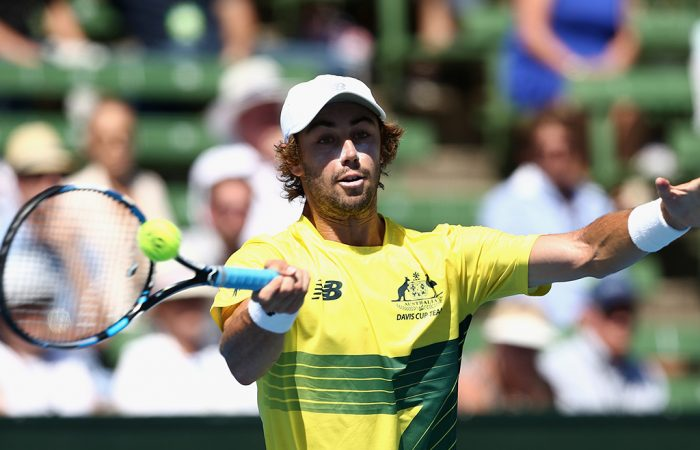 MELBOURNE, AUSTRALIA - FEBRUARY 03:  Jordan Thompson of Australia plays a forehand in his singles match against Jiri Vesely of Czech Republic during the first round World Group Davis Cup tie between Australia and the Czech Republic at Kooyong on February 3, 2017 in Melbourne, Australia.  (Photo by Robert Prezioso/Getty Images)