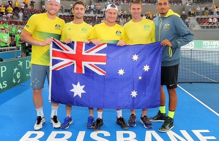 BRISBANE, AUSTRALIA - APRIL 09: (L-R) Sam Groth, Jordan Thompson, Lleyton Hewitt, John Peers and Nick Kyrgios of Australia pose for a photo after their victory in the Davis Cup World Group Quarterfinals between Australia and the USA at Pat Rafter Arena on April 9, 2017 in Brisbane, Australia. (Photo by Bradley Kanaris/Getty Images)