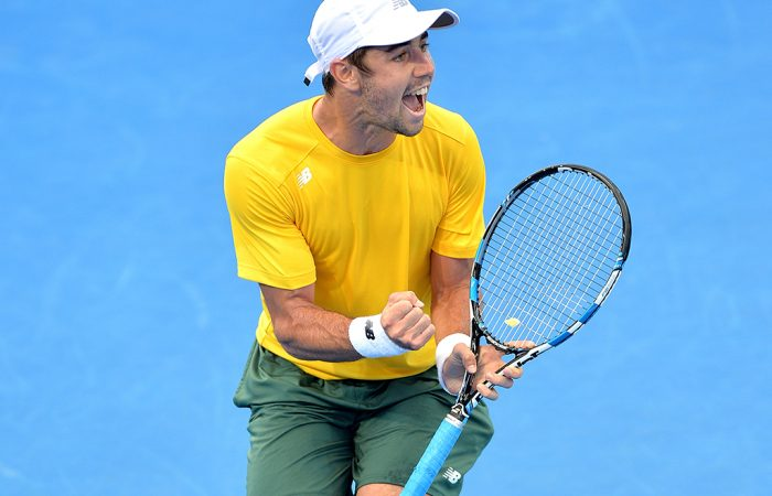 BRISBANE, AUSTRALIA - APRIL 07:  Jordan Thompson of Australia celebrates winning a point in his match against Jack Sock of the USA during the Davis Cup World Group Quarterfinals between Australia and the USA at Pat Rafter Arena on April 7, 2017 in Brisbane, Australia.  (Photo by Bradley Kanaris/Getty Images)