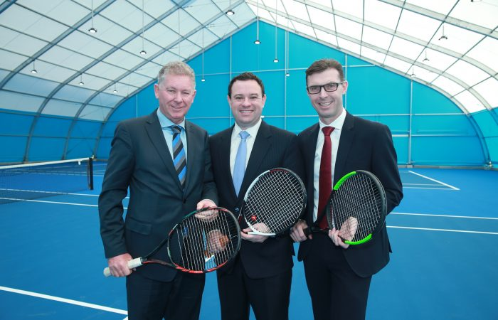 Tennis NSW President Greg Doyle, NSW Sports Minister Stuart Ayres and Tennis NSW CEO Lawrence Robertson