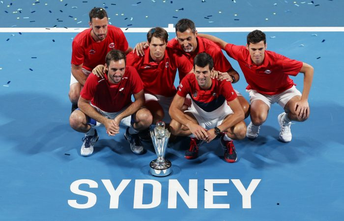 SYDNEY, AUSTRALIA - JANUARY 12: Team Serbia celebrate winning the ATP Cup final against Spain during day 10 of the ATP Cup at Ken Rosewall Arena on January 12, 2020 in Sydney, Australia. (Photo by Matt King/Getty Images)