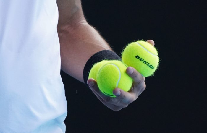 Fabio Fognini (ITA) selects which ball to use against Raphael NADAL (ESP) during his match on Rod Laver Arena day 8 of the Australian Open at Melbourne Park on Monday, February 15, 2021. MANDATORY PHOTO CREDIT Tennis Australia/ Michael Dodge
