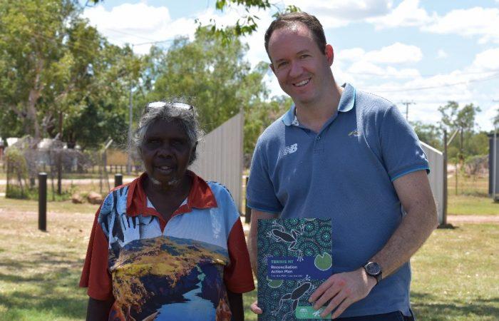 Wugularr Beswick Elder Esther Bulumbara & Tennis NT CEO Sam Gibson