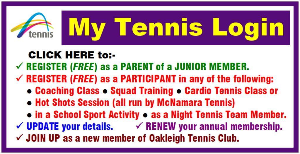 My Tennis Login NEW