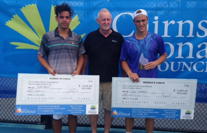 Alex Bolt (L) and Finn Tearney (R) pose with their cheques following the Cairns Tennis International;Tennis Australia