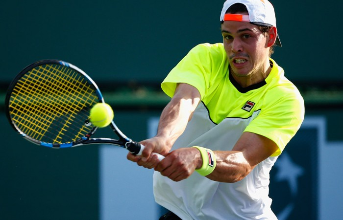Alex Bolt in action during qualifying over Japan's Go Soeda at the BNP Paribas Open at Indian Wells; Getty Images