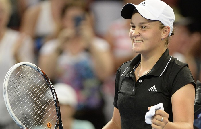 Ashleigh Barty of Australia celebrates victory after defeating Daniela Hantuchova of Slovakia during day two of the 2014 Brisbane International at Queensland Tennis Centre; Getty Images