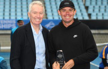 Archie Graham (Qld) poses with Craig Tiley, Tennis Australia CEO at the 2021 Australian Tennis Championships trophy presentation at Melbourne Park on Friday, April 16, 2021. More than 50 players competed in the event, a key initiative in Tennis Australia's Diversity and Inclusion national pathway.  MANDATORY PHOTO CREDIT Vince Caligiuri/TENNIS AUSTRALIA