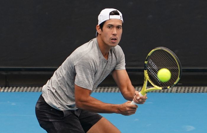 Jason Kubler of Australia plays a shot during his match against Lorenzo Sonego of Italy on court 3 during Day 1 of the ATP 250 Murray River Open at Melbourne Park on Monday, February 1, 2021. MANDATORY PHOTO CREDIT Tennis Australia/ Scott Barbour