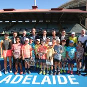 ADELAIDE, AUSTRALIA - FEBRUARY 02: Craig Tiley, Tennis Australia CEO; Tom Larner, Tennis Australia CEO; Kent Thiele, Tennis SA CEO; Steve Baldas, Tennis SA CEO; Steven Marshall, SA Premier and Corey Wingard MP, SA Minister for Sport, Recreation and Racing pose with Super 10s children during a press conference to announce that Memorial Drive is getting a $10 million-dollar redevelopment before the Davis Cup Qualifiers between Australia vs Bosnia and Herzegovina at Memorial Drive, Adelaide on February 01, 2019 in Adelaide, Australia. (Photo by Scott Barbour/Getty Images)