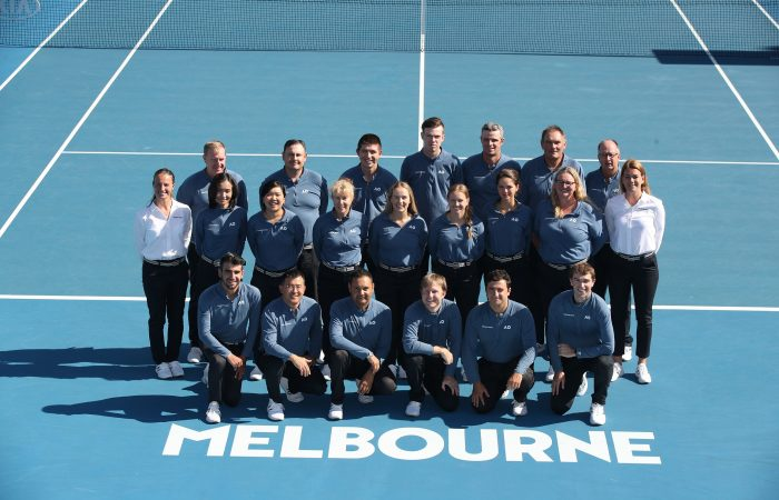 MELBOURNE, AUSTRALIA - JANUARY 26:  Umpires Group Session at 1573 Arena during day 13 of the 2019 Australian Open at Melbourne Park on January 26, 2019 in Melbourne, Australia.  (Photo by Scott Barbour/Getty Images) 775283285  (Photo by Scott Barbour/Getty Images)