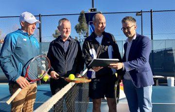 Centre manager Andrew Youl, Mayor Albert van Zetten, Liberal Lyons MP Guy Barnett and Tennis Tasmania's Darren Sturgess.