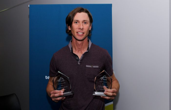 Tony Blom collects his awards at the 2018 Tasmanian Tennis Awards. Picture: Martin Turmine