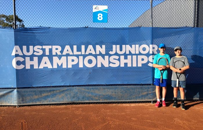 George Anderson and Lachlan Browne at the Australian Junior Claycourt Championships in Canberra.