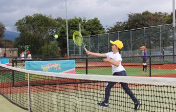 HAVING FUN: ANZ Tennis Hot Shots Match Play is a great way for junior players to learn in a team tennis environment. Picture: Joe Turmine