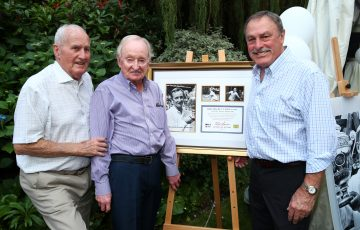 LEGEND: Neale Fraser, left, with Rod Laver and John Newcombe at Wimbledon in June; Getty Images