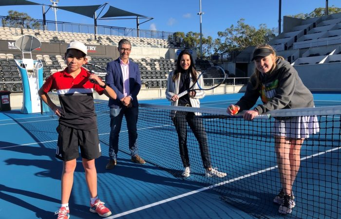Tennis Tasmania General Manager and Minister for Sport and Recreation, Jane Howlett, with local junior players Alejandro Fisher and Alicia Dale