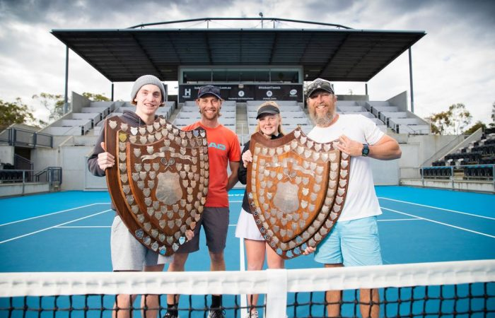 Pardey Shield 2020 winners Sam Edgar and Alicia Dale with coaches Tony Blom and Mickey Conallin