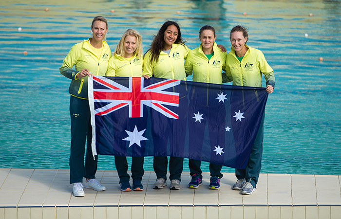 WOLLONGONG, AUSTRALIA - APRIL 20:  The Australian team poses for a photo during the official draw ahead of the World Group Play-Off Fed Cup tie between Australia and the Netherlands at the Wollongong Entertainment Centre on April 20, 2018 in Wollongong, Australia.  (Photo by Mark Nolan/Getty Images)