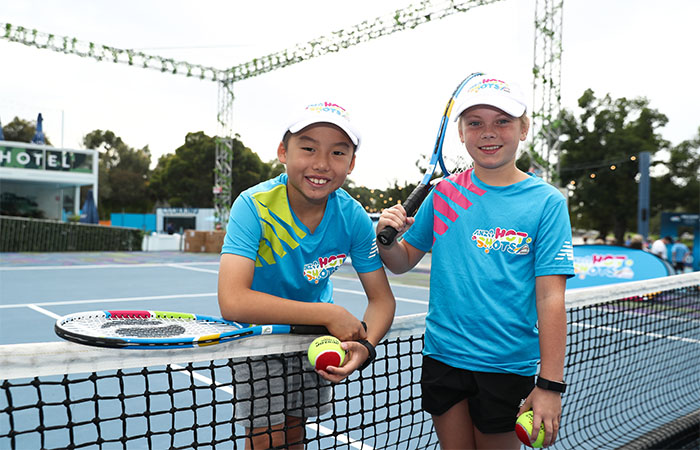 MELBOURNE, AUSTRALIA - JANUARY 17:  ANZ Hot Shots Kids during day four of the 2019 Australian Open at Melbourne Park on January 17, 2019 in Melbourne, Australia.  (Photo by Matt King/Getty Images For Tennis Australia)