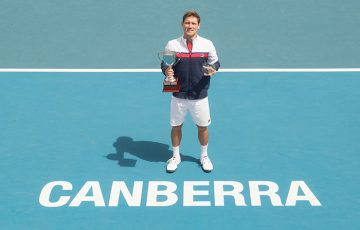 Matt Ebden (AUS) poses for a photo with his champions trophy after winning the Men's Singles final against Taro Daniel (JPN) 7-6 6-4 on Day nine of the Apis Canberra International #ApisCBRINTL. Match was played at Canberra Tennis Centre in Lyneham, Canberra, ACT, Australia on Sunday 5 November 2017. Photo: Ben Southall. #Tennis #Canberra
