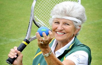 Margaret robinson recently won her fourth World Singles Title in the Seniors Division of Tennis . ( No Byline Please ) .