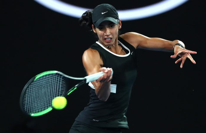 MELBOURNE, AUSTRALIA - JANUARY 26:  Astra Sharma and Australia in her Mixed Doubles Final match with John-Patrick Smith of Australia against Rajeev Ram of the United States and Barbora Krejcikova of Czech Republic during day 13 of the 2019 Australian Open at Melbourne Park on January 26, 2019 in Melbourne, Australia.  (Photo by Michael Dodge/Getty Images)