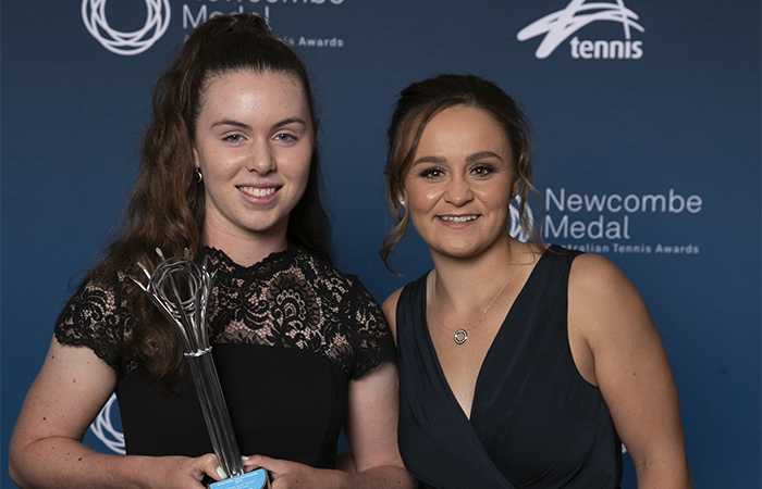 Junior Athlete of the Year  female winner Talia Gibson with presenter Ash Barty   during the Newcombe Medal Australian Tennis Awards at Crown Palladium in Melbourne, Monday, December 2, 2019.