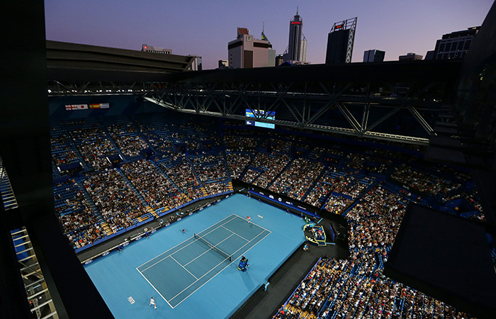 PERTH, AUSTRALIA - JANUARY 04:   A general view of play in the mens singles match between Rafael Nadal of Team Spain and Nikoloz Basilashvili of Team Georgia during day two of the 2020 ATP Cup Group Stage at RAC Arena on January 04, 2020 in Perth, Australia. (Photo by Will Russell/Getty Images)